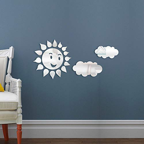 Spiegel muursticker, zon wolk acryl milieu muurschildering, kinderkamer kunst wanddecoratie sticker-Zilver