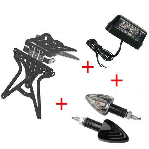 Kit pour moto support de plaque d'immatriculation universel + 1 paire de flèches + lumière plaque d'immatriculation Lampa homologué Yamaha TT 250 R 2000 – 2002