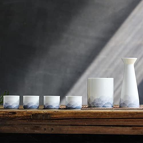 sknonr Conjunto de vinos de cerámica, Conjunto de Caja de Regalo de Botella de Sake japonés, Cubo de 1x cálido (Hielo), matraz de Cadera 1x, 4X Taza