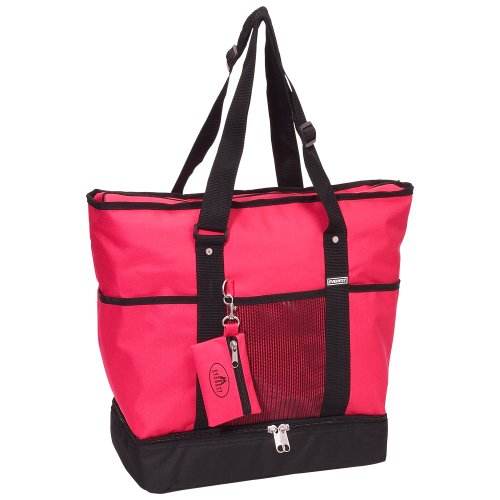 Everest Luggage Deluxe Shopping Tote, Hot Pink/Black, Hot Pink/Black, One Size