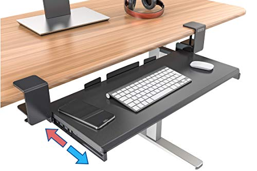 Clamp On Keyboard Tray Under Desk Storage - Ergonomic Desk Drawer Computer Keyboard Stand Under Desk Drawer - Under Desk Keyboard Tray Desk Extender - Office Keyboard Drawer Keyboard Stand for Desk