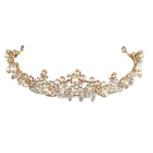 Lurrose Crystal Bruid Kroon parels strass bloem hoofdband stijlvolle haaraccessoires voor bruiloft prom (goud)