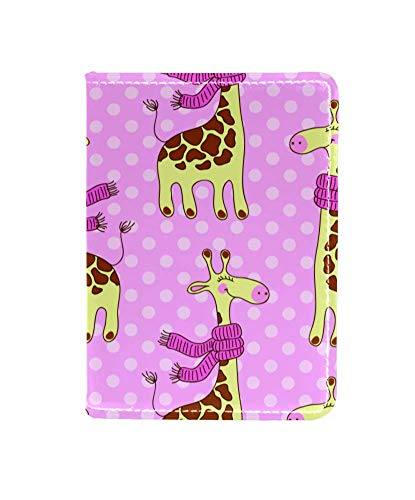 Cute Giraffes with Scarves Leather Passport Holder Cover Case Card Travel Document Organizer for Women Men with Matching Luggage Tag Set
