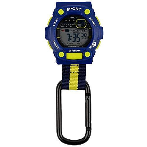 [クレファー] 懐中時計 カラビナウォッチ デジタル 防水 ストップウォッチ ライト 付き ブルー イエロー CB-D240-BL