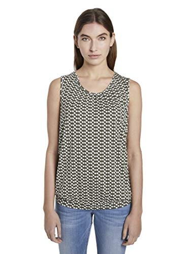 Tom Tailor Rundhals Camiseta, 22738-Diseño de Color Caqui, XS para Mujer