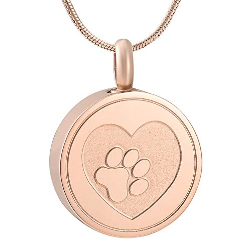 ZZHIYONG Keepsake Cremation Urn Necklace Round Carved Dog Claw Cremation Jewelry for Ashes Stainless Steel Pendant Locket Keepsake Memorial Urn