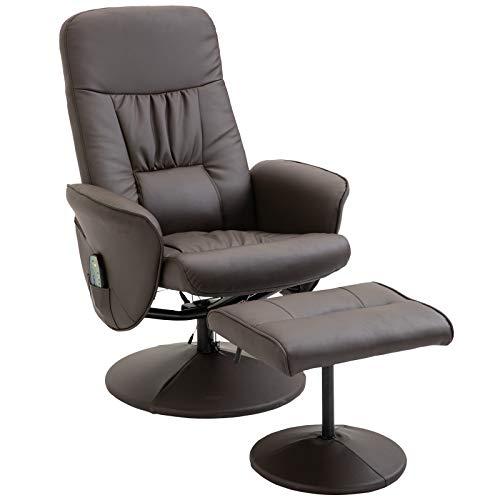 HOMCOM Massagesessel mit Fußhocker Relaxsessel Heizfunktion 145°-Neigung PU Braun 81 x 81 x 105 cm