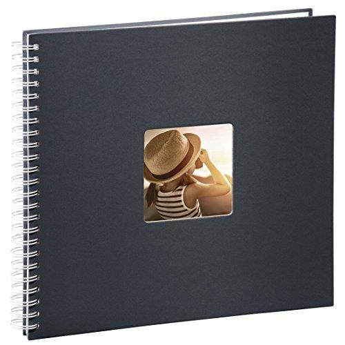 Hama Jumbo Fotoalbum, 36 x 32 cm, 50 weiße Seiten, 25 Blatt, mit Ausschnitt für Bildeinschub, Fotobuch grau