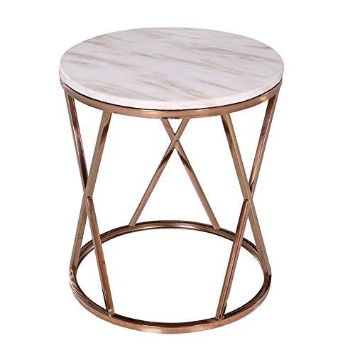 GAOLIM Mesa auxiliar moderna de mármol mesa de centro redonda de metal de esquina mesita de noche de oro rosa 5055 cm/20 × 21 pulgadas