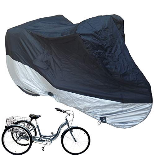 Premium Adult Tricycle Cover Heavy Duty Fabric Fits Schwinn, Westport and Meridian- Protect Your Bike from Rain, Dust, Debris, and Sun when Storing Outdoors or Indoors - in Black HW400 -  Mansport, HW400 tricycle black