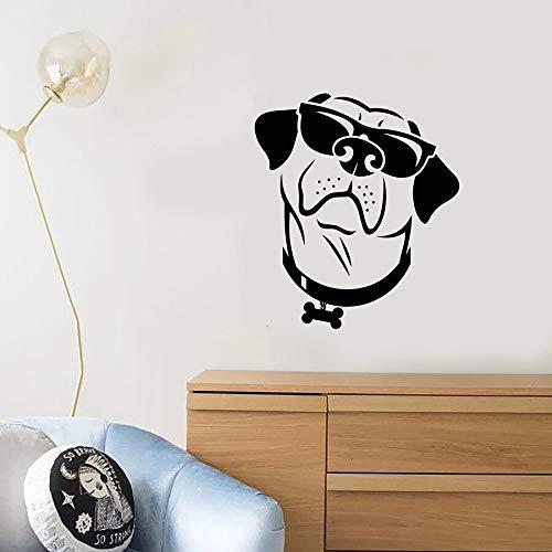 Divertido perro calcomanía de pared estilo fresco gafas de sol tienda de mascotas Animal niños dormitorio guardería decoración interior vinilo ventana pegatina arte