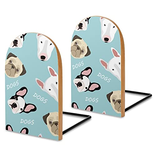 French Bulldog Heavy Duty Book End 2pcs /Pack Wood Wooden Artist Bookends Decorative Book for Office for Home Office Library Decoration