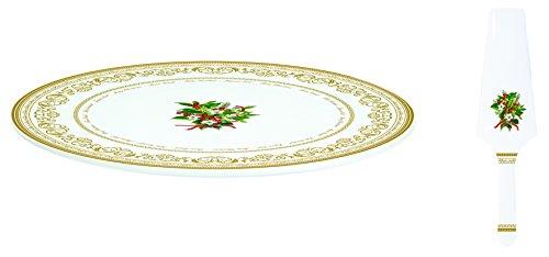 Jd Diffusion 1112HOLL Plat à Gateaux et Pelle Christmas Holly, Céramique, Multicolore, 36,2 x 17,4 x 3 cm
