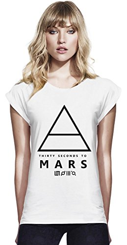 30 Seconds to Mars Pyramid Womens Continental Rolled Sleeve T-Shirt Medium