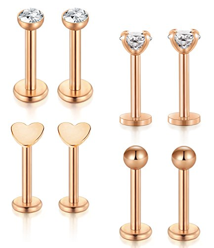 Incaton Lip Studs Rings,16G Rose Gold Internally Surgical Steel Hypoallergenic Pin Labret Studs Piercing Jewelry