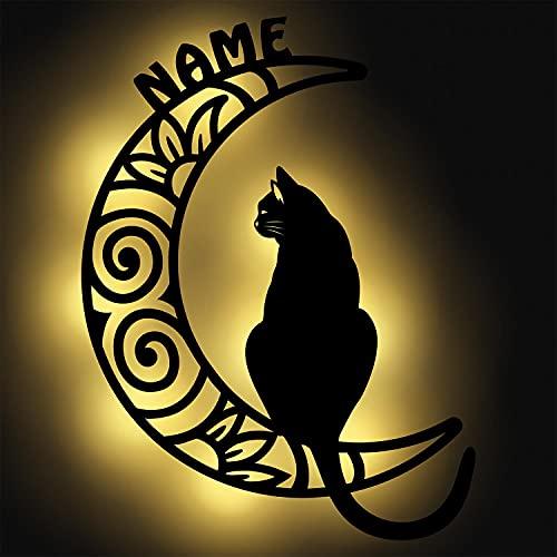 Nachtlicht Katze auf Mond Design XXL Groß aus Holz für Kinder & Erwachsene Geschenke Personalisiert I Batteriebetrieben