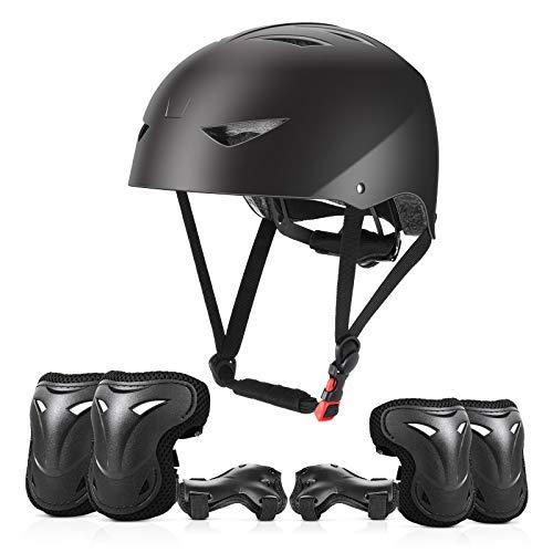 ValueTalks Schonerset Kinder Knieschoner Set mit Helm für inliner Skateboard Fahrrad Rollschuh (Schwarz)