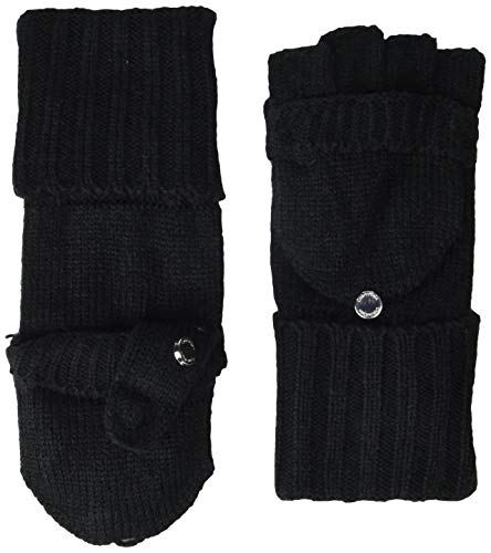 Calvin Klein Women's Knitted Convertible Fingerless Gloves with Mitten Flap Cover, black, One Size