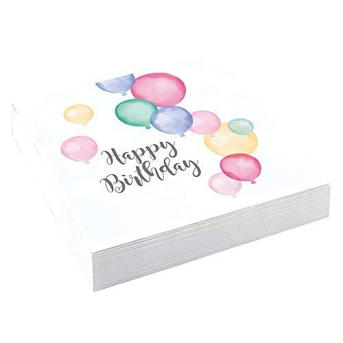 Amscan 9903711 - Servietten Happy Birthday, 20 Stück, 33 x 33 cm, Pastel, Geburtstag
