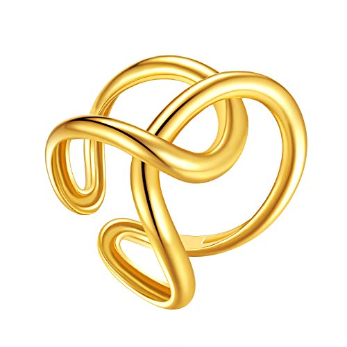 FindChic Platinum/Gold Plated Twine Open Cuff Ring for Women