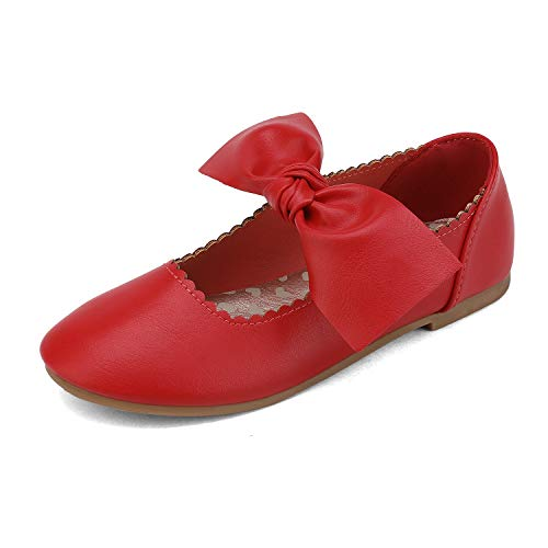DREAM PAIRS Girls Ballerina Flats Mary Jane Front Bow Dress Shoes Red Size 6 Toddler Angie-5