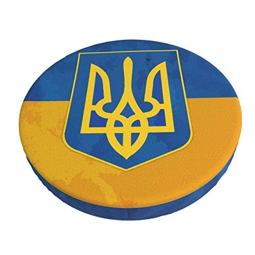 Bandera de Ucrania Barra Redonda Funda de cojín para Silla Funda de Asiento Suave Antideslizante Protector Elástico 12in ~ 14in