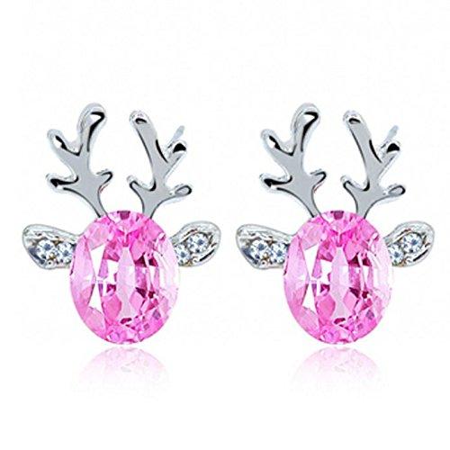 Fenverk 1 Paar Gold Mode Damen Ohrringe Weihnachten Elch Ohrringe Elegant Pearl Ohrringe,Einfach Stilvoll Weihnachten Elchgeweihe mit Weiß Perle Ohrringen Frauen Schmuck Zubehör Ohrhänger(A Rosa)