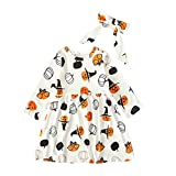 Vestido de Calabaza de Halloween para niñas bebés, Vestido Recto de Manga Larga para Fiesta de niña de Flores, Disfraz de bebé Lindo(12-18 Meses,Blanco)