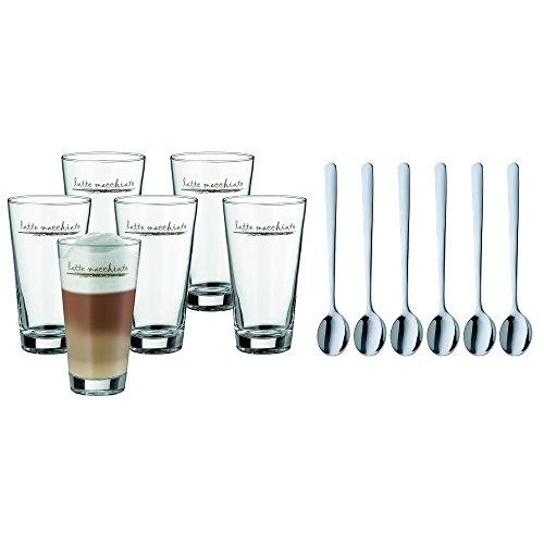 WMF Clever&More Latte Macchiato set, 12-delig, latte macchiato glas met lepel, latte macchiato 280 ml, vaatwasmachinebestendig