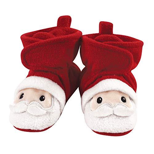 Hudson Baby Unisex Cozy Fleece Booties, Santa, 6-12 Months