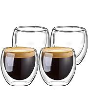Double Walled Glasses for Espresso Coffee Turkish Tea, Espresso Coffee Cups