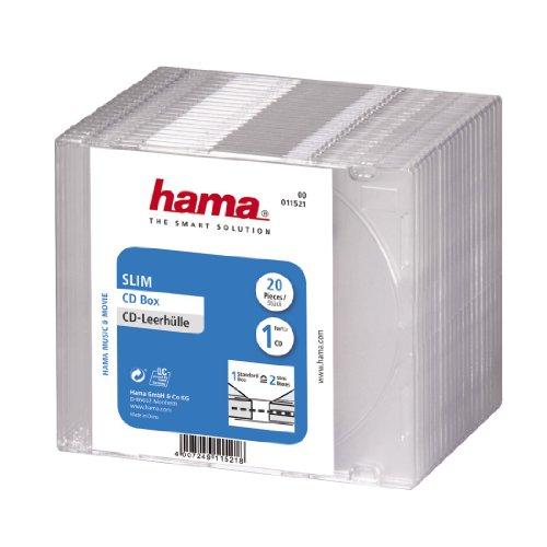 Hama 00011521 CD-Leerhülle, 20er-Pack, transparent