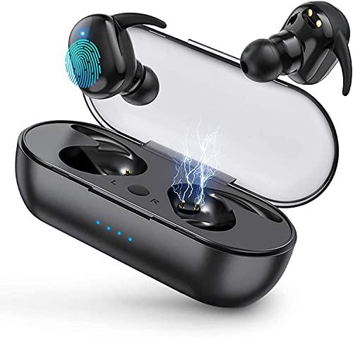 Auriculares Inalámbricos, Auriculares Deportivos Bluetooth 5.0 Mini TWS Cascos In-Ear IPX7 Impermeable,USB Carga Rápida Reproducción de 24H Control Tactil, para Samsung/Huawei