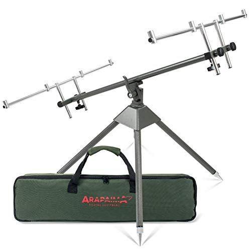 ARAPAIMA FISHING EQUIPMENT Aluminium Rod Pod Rutenauflage mit Teleskopfüßen für 4 Ruten Rodpod