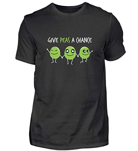 Peace Erbsen Diseño – Paz SŸ§ Niedlich dieta comida divertida frase Vegan regalo – Camiseta para hombre Negro  L