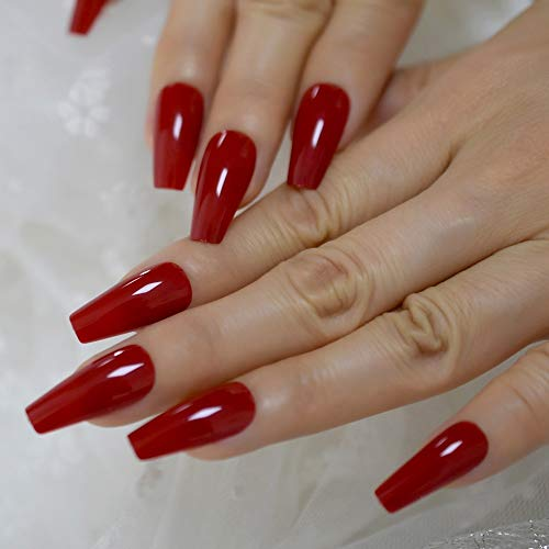 Red Tapered Midi Long Coffin Press on Nails