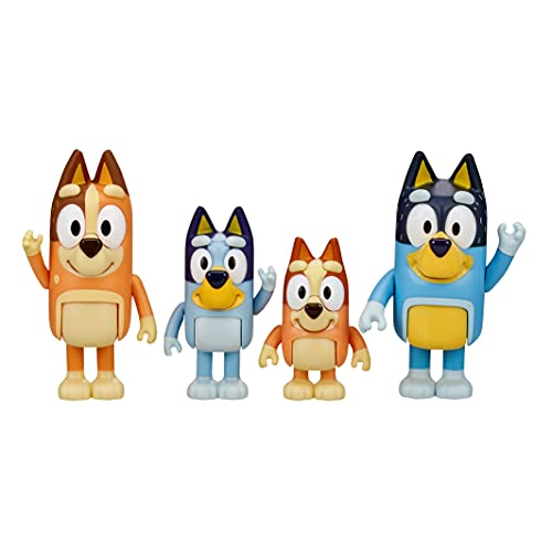 "Bluey & Family 4 Pack of 2.5-3"" Poseable Figures, Including Bluey, Bingo, Mum & Dad"