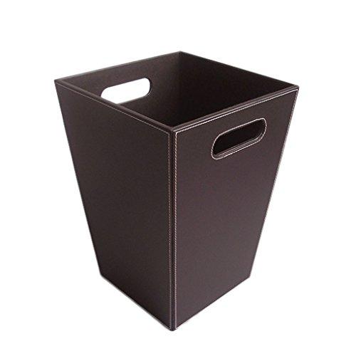 DUOER home Botes de Basura de Cuero clásicos, sin Tapa, Bolsa de Papel reciclada, Papelera para Oficina, hogar y Hotel de Clase Alta (Negro) (Color : Brown)