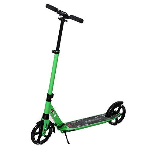 HOMCOM Kinderroller Scooter Tretroller Cityroller mit beleuchteten Rädern für 14+ Kinder höhenverstellbar faltbar Grün 94 x 43 x 92-106 cm