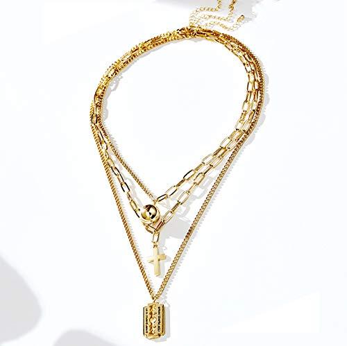 3 Laminado con Cadena De Clavícula Colgante De La Cruz, Collar De Zirconia De Aleación De Oro Rosa, Regalos Creativos De Amor, Amor