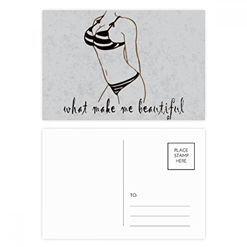 DIYthinker Bikini Beauty Illustratie Zwart Patroon Postkaart Set Verjaardag Thanks Card Mailing Side 20 stks 5.7 inch x 3.8 inch Multi kleuren
