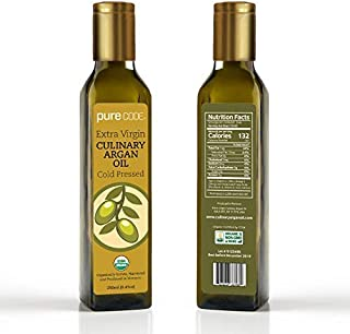 PURECODE Extra Virgin Culinary Argan Oil 8.5oz Cold Pressed, Organically Grown, Harvested and Produced in Morocco