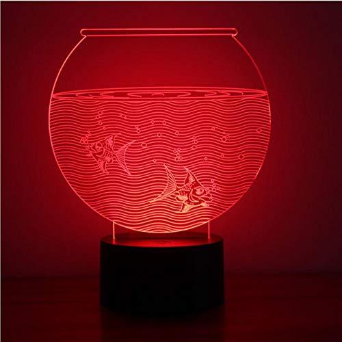 Yujzpl 3D-illusielamp Led-nachtlampje, USB-aangedreven 7 kleuren Knipperende aanraakschakelaar Slaapkamer Decoratie Verlichting voor kinderen Kerstcadeau-Aquarium water
