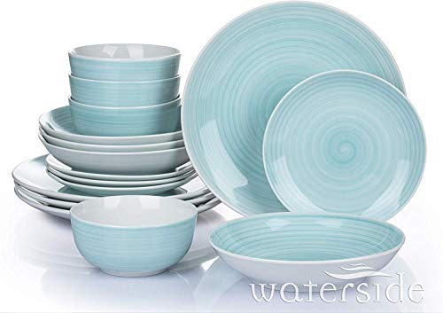Waterside Fine China Set da tavola, Porcellana, Blu Acqua, Taglia Unica