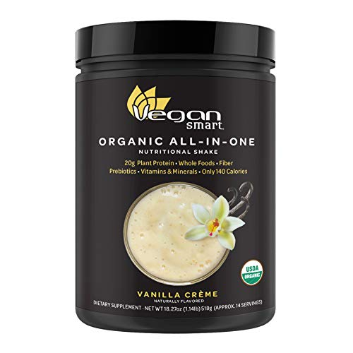 Vegansmart Plant Based Organic Protein Powder by Naturade, All-in-One Nutritional Shake - Vanilla Creme (14 Servings)