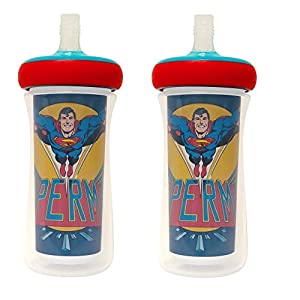 The First Years Multicolor Insulated Straw Cup 9 Oz 2 Pack, Y11388CA1, DC Superman