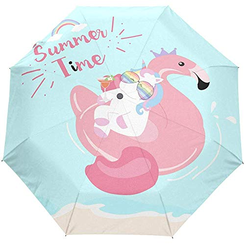 Sommertraumpferd Flamingo Tropical Auto Open Regenschirm Sun Rain Regenschirm Anti UV Folding Compact Automatic Umbrella