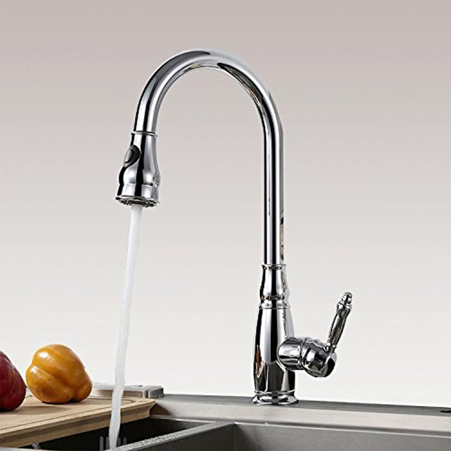 Tw Pull-out 360 ?? Swivel Kitchen Faucet   Vegetable Basin Sink Hot and Cold Kitchen Faucet (Dual Mode Water Mode)