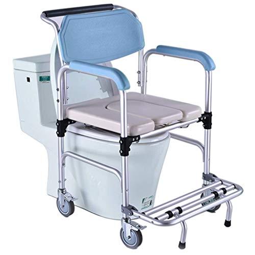 LIZHIQIANG Asiento de baño bariátrico Silla de baño de ducha de ruedas de lujo |con respaldo y reposabrazos |Para uso en el baño de la cama, en la cama de la cama móvil, sentarse y baños de fácil tran