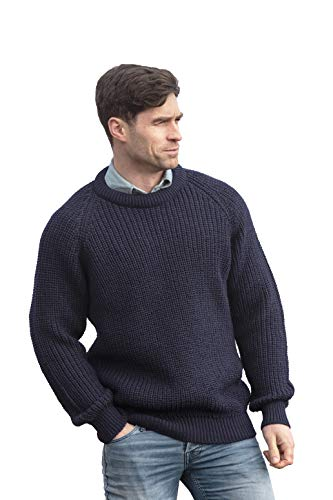 Aran Crafts Men's Fisherman Irish Rib Crew Neck Wool Sweater (C761-MED-NAVY)